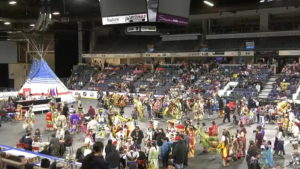 Participants take part in the International Peace Pow Wow in Lethbridge, Alta.