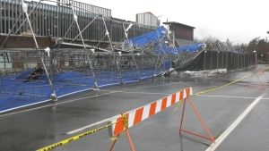 One casualty of the strong winds was the scaffolding outside a business on Millstream Road. (CTV)