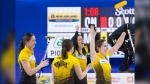 Team Manitoba lead, Briane Meilleur, left to right, third Val Sweeting, skip Kerri Einarson and second Shannon Birchard celebrate after defeating Team Ontario to win the Scotties Tournament of Hearts in Moose Jaw, Sask., Sunday, February 23, 2020. (THE CANADIAN PRESS/Jonathan Hayward)