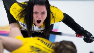 Team Manitoba skip, Kerri Einarson calls a shot during curling final action against Team Ontario at the Scotties Tournament of Hearts in Moose Jaw, Sask., Sunday, February 23, 2020. (THE CANADIAN PRESS/Jonathan Hayward)