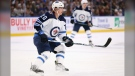 Winnipeg Jets forward Cody Eakin (20) skates during the first period of an NHL hockey game against the Buffalo Sabres, Sunday, Feb. 23, 2020, in Buffalo, N.Y. (AP Photo/Jeffrey T. Barnes)