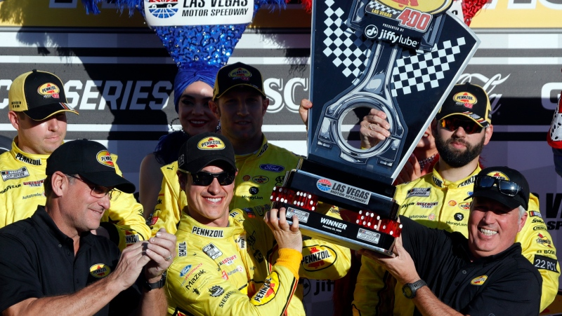 Joey Logano celebrates after winning a NASCAR Cup Series auto race at the Las Vegas Motor Speedway on Sunday, Feb. 23, 2020. (Steve Marcus/Las Vegas Sun via AP)