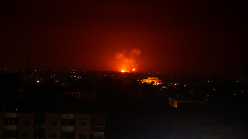 An explosion by Israeli airstrikes is seen in Gaza City early Monday, Feb. 24, 2020. (AP Photo/Adel Hana)