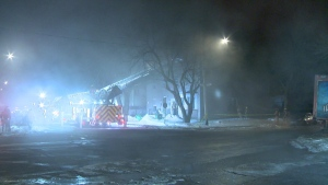 A fire in Mercier-Hochelaga-Maisonneuve has forced four families from their homes.