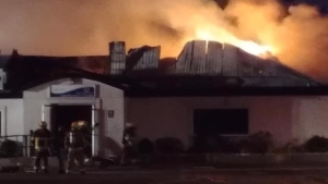 Fire rips through the Thorndale Community Centre, on Monday Feb. 24, 2020. (Courtesy Michael McCallum)