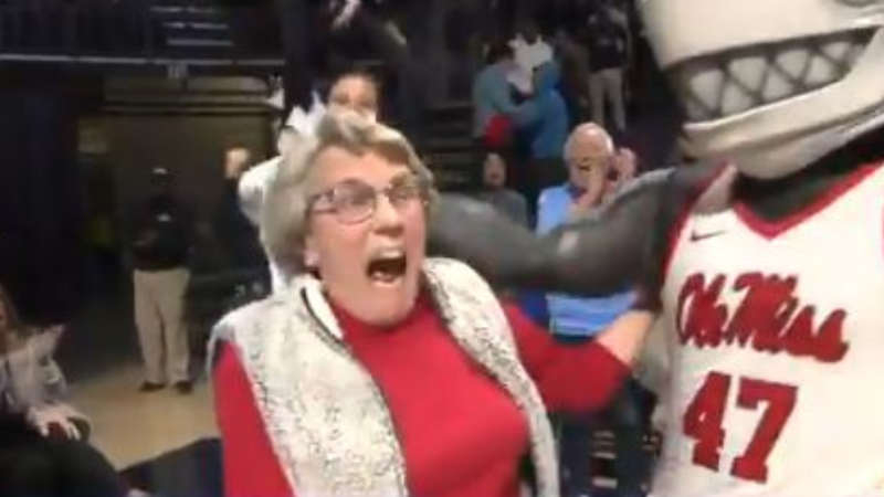 An 86-year-old woman in Mississippi won a new car after improbably sinking a 94-foot putt during a halftime contest at a college basketball game. (Ole Miss Athletics)