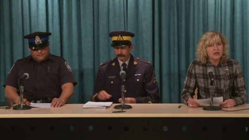 Const. Tim Kaizer, Staff Sgt. Kevin Bailey, and Education Deputy Minister Bethany MacLeod provide an update on a weapons threat during a news conference on Feb. 23, 2020. (Facebook)
