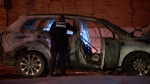 The Montreal police arson squad is investigating after a car was set on fire in Rosemont-La Petite-Patrie.