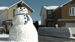 The 14-foot tall giant snowman has been built on Toulouse Crescent in Orleans.