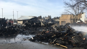 Little is left of the Thorndale Community Centre following a fire on Monday, Feb. 24, 2020. (Brent Lale / CTV London)