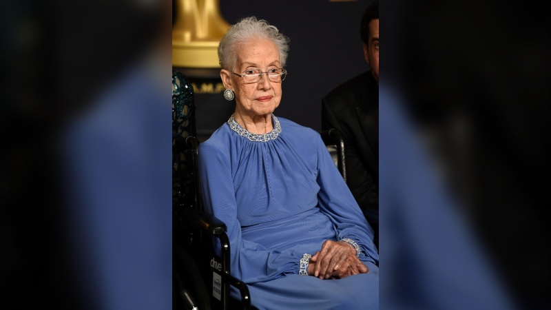 "In this Feb. 26, 2017, file photo, Katherine Johnson, the inspiration for the film, ""Hidden Figures,"" poses in the press room at the Oscars at the Dolby Theatre in Los Angeles. (Photo by Jordan Strauss / Invision / AP)"
