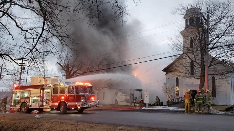 Crews respond to a fire at a church and community hall in Digby on Feb. 24, 2020. (Neil Marc Pothier/Facebook)