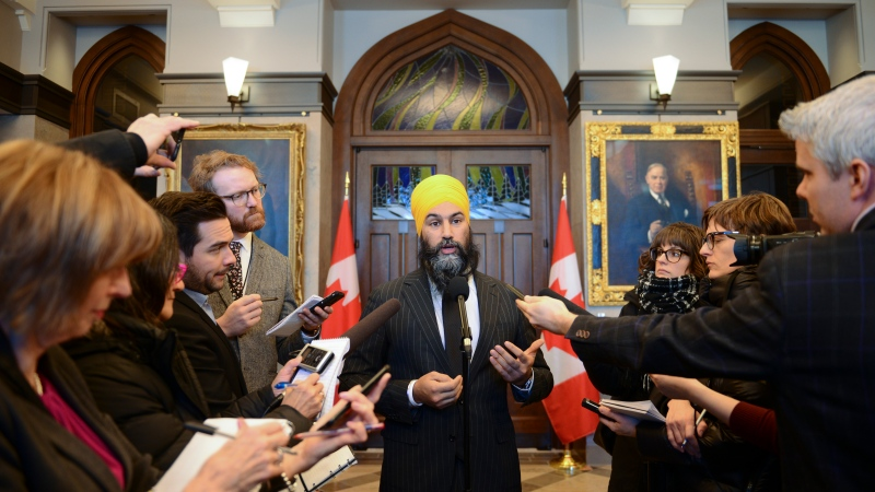 NDP Leader Jagmeet Singh talks to reports on Parliament Hill following a caucus meeting in Ottawa on Wednesday, Feb. 19, 2020. THE CANADIAN PRESS/Sean Kilpatrick