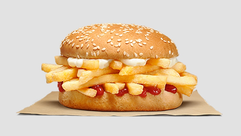 Burger King's latest creation: is the Chip Butty, a patty-less sandwich. The sandwich consists of french fries, mayo and ketchup wedged in between two buns. (Burger King New Zealand)