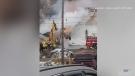 Fire destroys community hall, damages church