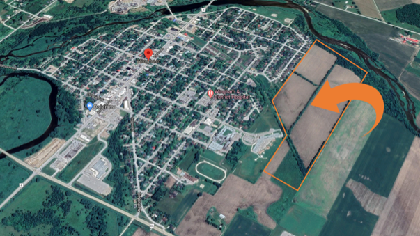 A map indicates the location of a massive new subdivision planned in Wingham, Ont.