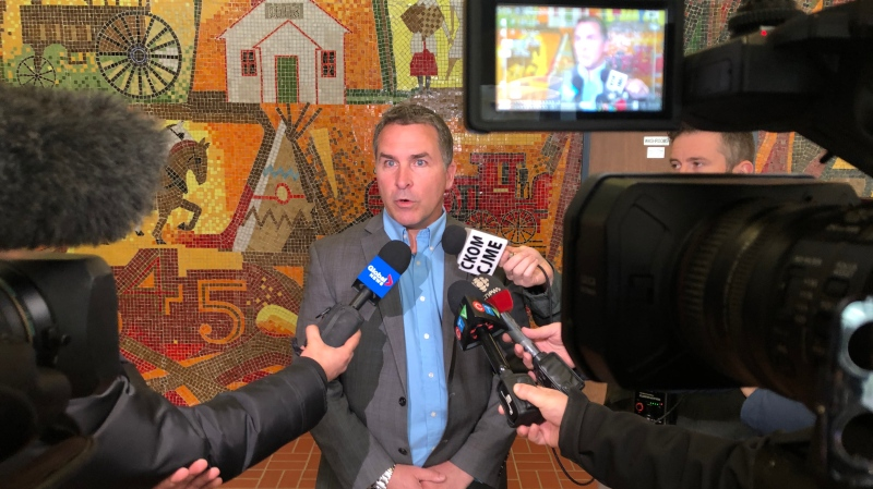Saskatchewan Teachers Federation President Patrick Maze speaks to reporters in Saskatoon Feb. 24, 2020. (Chad Leroux/CTV Saskatoon)