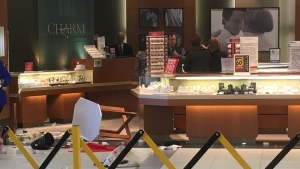 Witnesses say three people broke a glass case at Charm Diamond Centres at the Station Mall in Sault Ste. Marie. Feb. 24/20 (Jairus Patterson/CTV Northern Ontario)