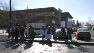 A protest over Pontiac Hospital birthing unit closing for six months due to staffing shortages takes place on Monday, Feb. 24, 2020. (Claudia Cautillo/CTV News Ottawa)