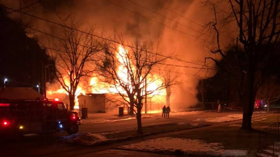 A fire tore through the Thorndale Community Centre in London, Ont. on Monday, Feb. 24, 2020. (Source: Kyle Ware / Facebook)