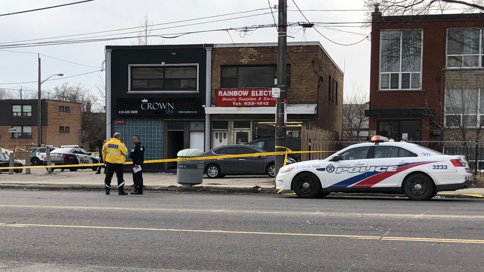 Police are seen on scene at Crown Spa in Downsview on Feb. 24, 2020.(CTV News Toronto)