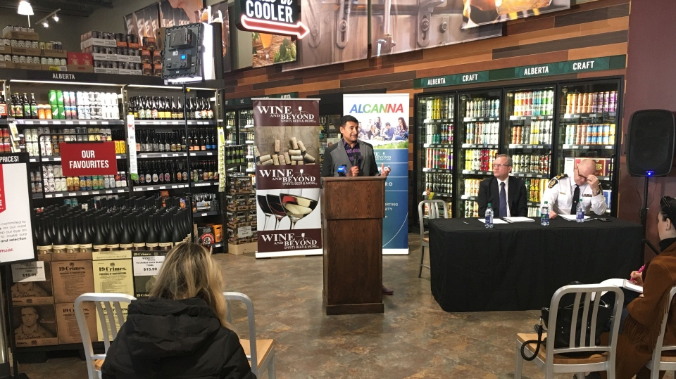 Edmonton Police Foundation Chair Ashif Mawji speaks at the Feb. 24, 2020, announcement that EPF will be partnering with Alcanna to find ways to curb liquor thefts.