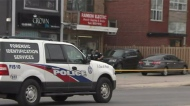 Police tape is shown at the scene of a fatal stabbing near Dufferin Street and Wilson Avenue on Monday afternoon.