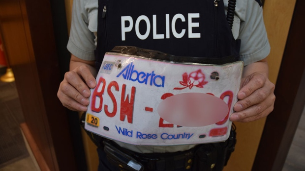 Police found a fake Alberta licence plate made out of paper while investigating a single-car collision in Port Coquitlam on Jan. 8, 2020. (Handout)