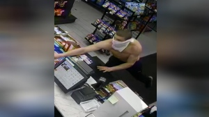 Alleged gas station robbery caught on camera in Oro-Medonte. Sunday, February 23, 2020 (OPP)