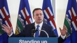 Alberta Premier Jason Kenney comments on the Teck mine decision in Edmonton on Monday, February 24, 2020. (THE CANADIAN PRESS/Jason Franson)
