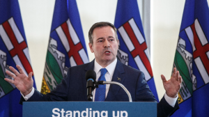 Alberta Premier Jason Kenney comments on the Teck mine decision in Edmonton on Monday, February 24, 2020. (THE CANADIAN PRESS/Jason Franson)