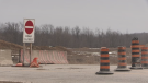 Wilton Grove Road in London, Ont. is closed as of Monday, Feb. 24, 2020. (Brian Snider / CTV London)