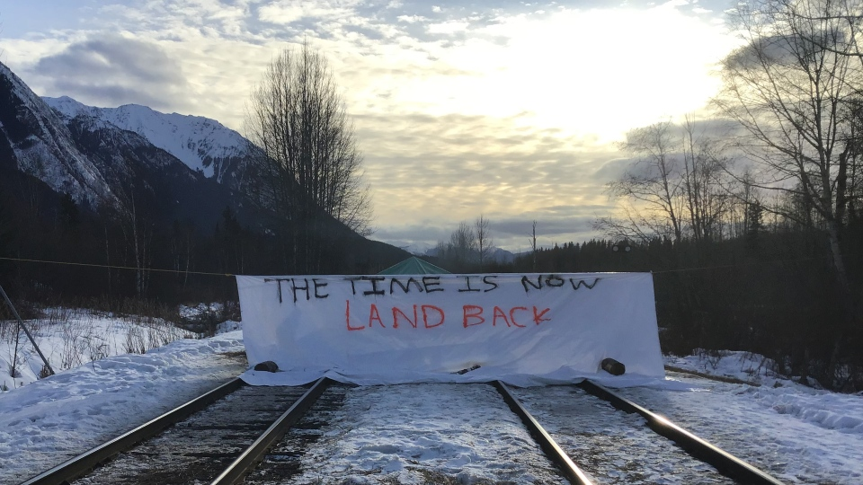 A blockade on the CN Rail tracks is seen near the northern B.C. village of Hazelton on Feb. 24, 2020. (Dan Mesec)