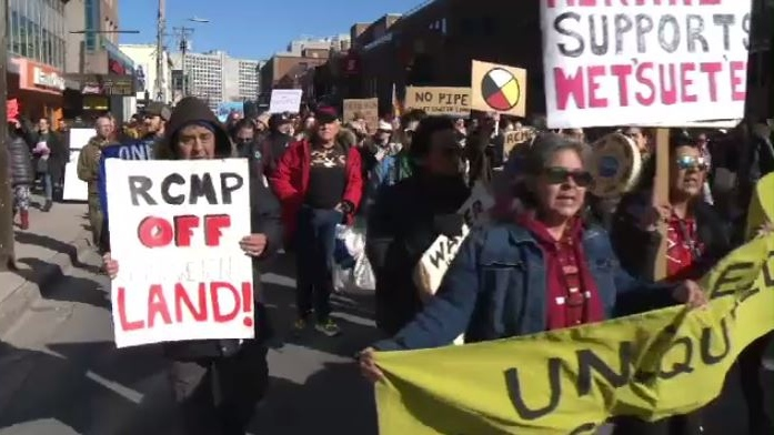 """The hereditary chiefs are calling for nation-to-nation discussions, and for the RCMP to leave,"" said Stacey Gomez, the organizer of a protest in Halifax on Monday."