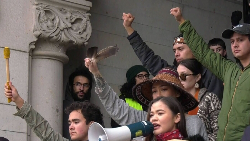 Protesters rally on steps of B.C. legislature
