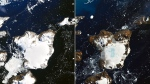 Remarkable before-and-after satellite images from NASA show how much ice melted on Antarctica's Eagle Island over a 9-day heat wave earlier this month. (NASA)
