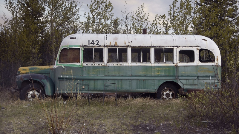 This abandoned bus on the Stampede Trail in Alaska became the camp of Chris McCandless in 1992. (Matt Frost/Shutterstock/CNN)