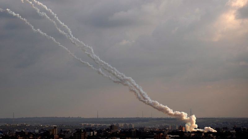 Rockets are launched from the Gaza Strip towards Israel, Monday, Feb. 24, 2020. (AP Photo/Khalil Hamra)