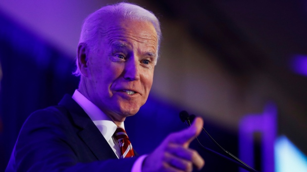 Democratic presidential candidate former Vice President Joe Biden speaks at the First in the South Dinner, Monday, Feb. 24, 2020, in Charleston, S.C. (AP Photo/Matt Rourke)