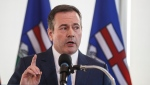 Alberta Premier Jason Kenney comments on the Teck mine decision in Edmonton on Monday, February 24, 2020. THE CANADIAN PRESS/Jason Franson