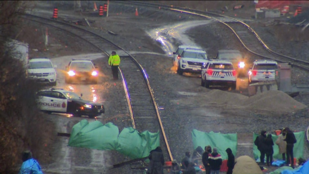 Four people charged in connection with blockade on Hamilton rail tracks