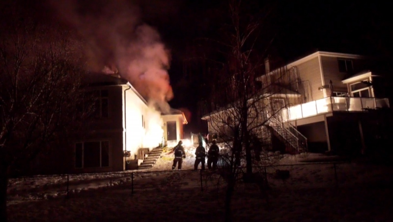 CFD members at a home in the 300 block of Mt. Douglas Ct. S.E. during a Feb. 24, 2020 fire response