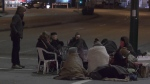 A group of demonstrators spent the night at the intersection of Hastings and Clarke on Feb. 24, blocking access to the Port of Vancouver the next morning.