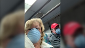 Trudy and Stephen Clement return to Canada after being quarantined on the Diamond Princess cruise ship for a COVID-19 outbreak. (Credit: Trudy Clement)