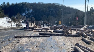 Logging truck spilled its load in rollover on Highway 144. Feb. 25/20 (Credit: Jodi Callahan Cormier)