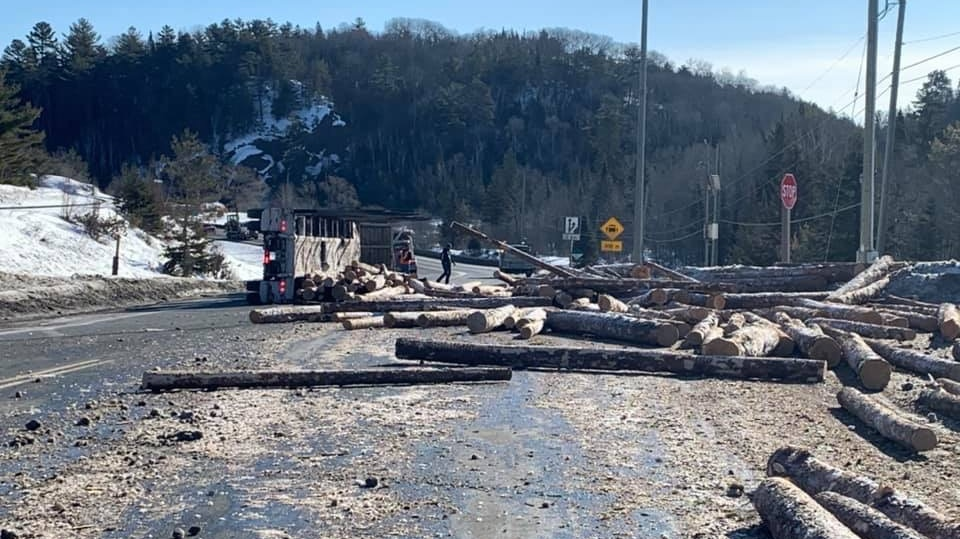 Logging truck spilled its load in rollover