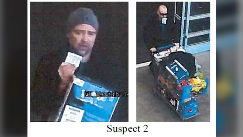 Okotoks RCMP is asking for help to identify two men wanted in connection with thefts from a Walmart. (RCMP handout)