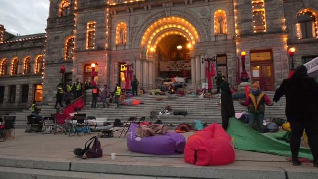 Protesters sleep on the B.C. legislature grounds on Feb. 25, 2020 (CTV News)