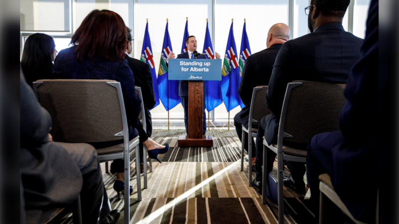 Alberta Premier Jason Kenney comments on the Teck mine decision in Edmonton on Monday, February 24, 2020. (Jason Franson/The Canadian Press)