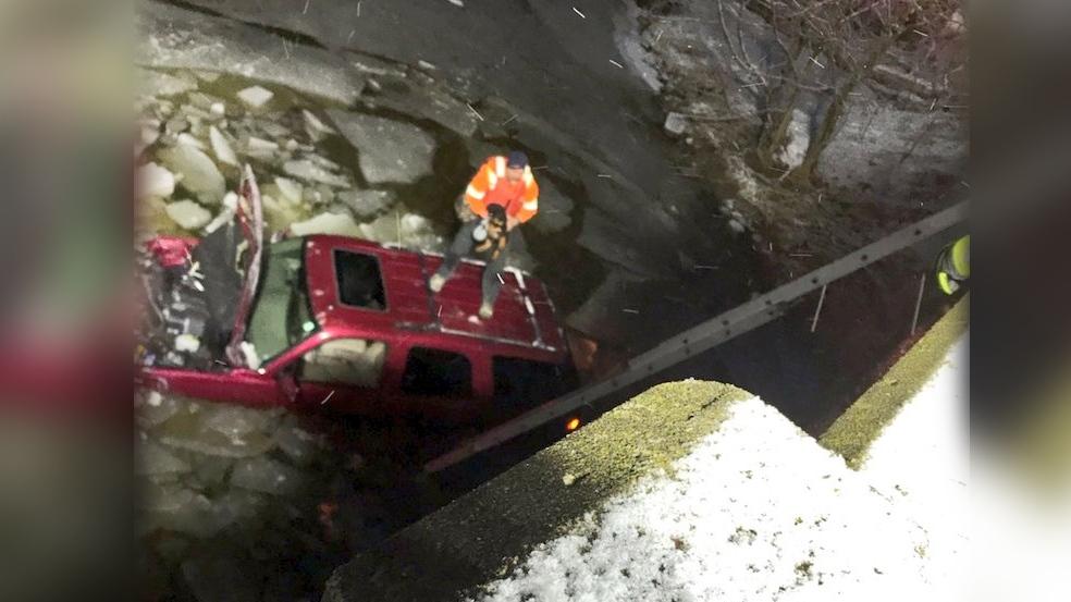 Van in creek